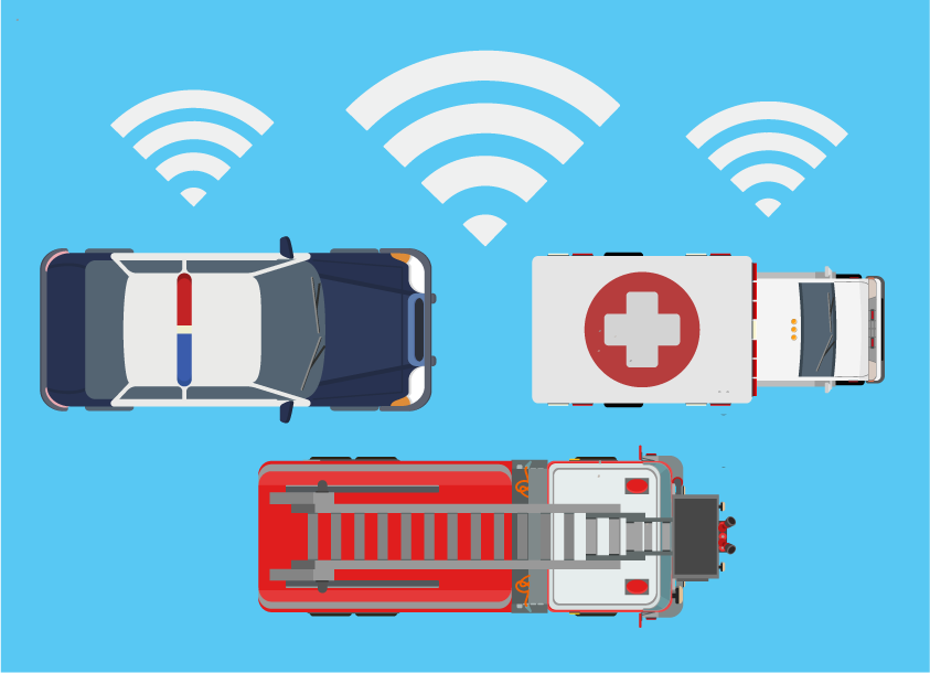 On-board connectivity in police cars and emergency vehicles
