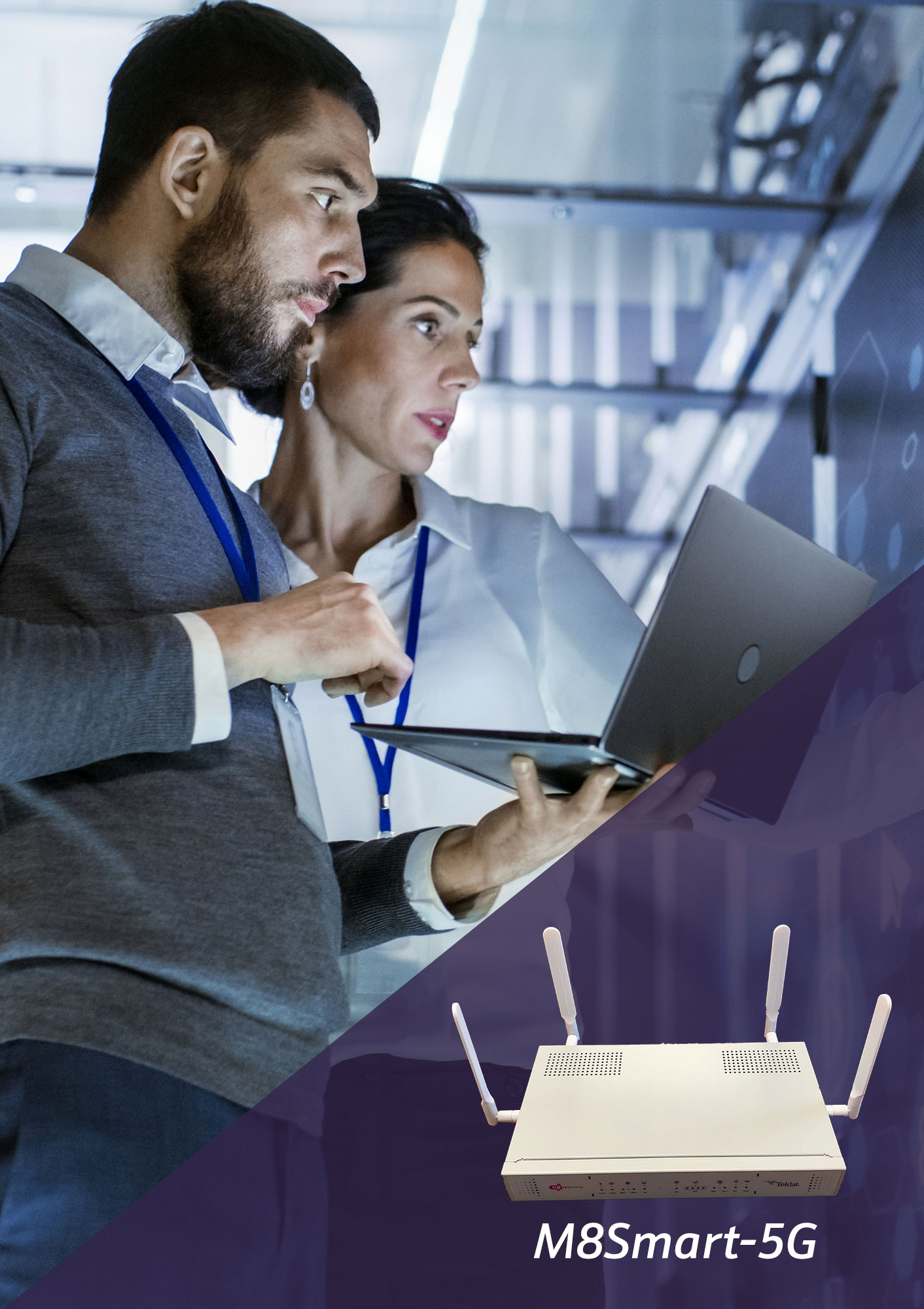 Teldat M8Smart-5G router with 5G SA, NSA, DSS, ZTP, plus SD-WAN connectivity.